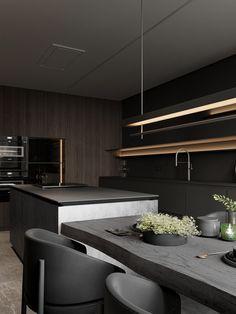 Lunar Eclipse on Behance Minimalist Architecture, Interior Architecture, Home Decor Kitchen, Kitchen Design, Apartment Projects, Loft, Interior Decorating, Interior Design, Interior Garden
