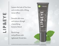 Smooth skin tone and lesson the look of lines, wrinkles, bags, and puffiness to give your delicate lip and eye areas a youthful lift. kellymcintosh2014.myitworks.com