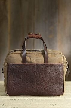 Coronado Waxed Canvas and Bison Leather Briefcase http://www.alltravelbag.com/coronado-waxed-canvas-and-bison-leather-briefcase/