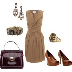 I think I'd go with a camel pump - slightly darker than nude, but not like this... let the LV Epi be the pop