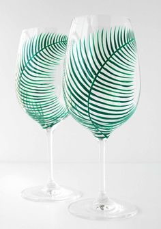 Summer Green Fern Wine Glass Hand Painted by MaryElizabethArts.com $40/pair