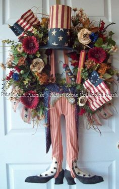 Patriotic July 4th Memorial Day Vintage Primtive Folk Art Style Spring Summer Fall Wreath Door Decoration-Uncle Sam