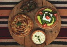 Typical cuisine with byrek, a lamb tave (casserole), dairy products and salat Albanian Cuisine, Food Words, Slow Food, Great Friends, Dishes, Breakfast, Ethnic Recipes, Bosnia, Casserole