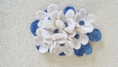 Unique white and blue brooch with flowers and seed beads, Easter gift idea for her, bride's dress decoration Easter Gift, Seed Beads, Om, Diy Crafts, Brooch, Bride, Unique Jewelry, Handmade Gifts, Flowers