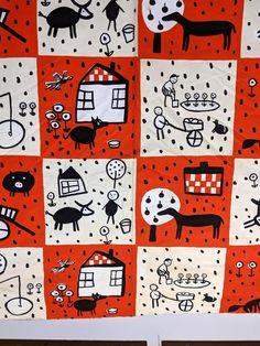 """Sold Price: 8 YARDS VINTAGE MARIMEKKO FABRIC. """"MUSTALAMMAS"""" MARKED - March 2, 0120 11:00 AM EST Marimekko Fabric, Yard, Orange, Vintage, Antiques, Design, Antiquities, Patio, Antique"""