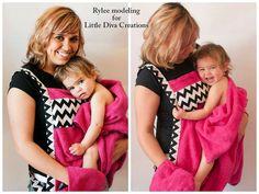 chevron baby bath towel apron gift set by LittleDivasCreations