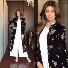 Spotted: @theshilpashetty makes for a stunning style icon in @ampmfashions Pishtaq collection outfit featuring a black embroidered jacket that is to die for ✨  #INSTASHOP this outfit at Carma by sending us a screenshot at +91-9990224411 #carmaonlineshop