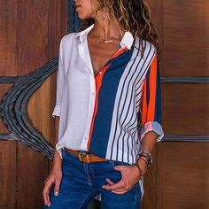 Women Blouses Fashion Long Sleeve Turn Down Collar Office Shirt Chiffon Blouse Shirt Casual Tops Plus Size Blusas Femininas Chiffon Shirt, Chiffon Blouses, Shirt Blouses, Collar Shirts, Collar Blouse, Striped Blouses, Neck Collar, Tee Shirt, Striped Long Sleeve Shirt
