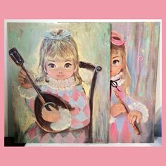 2 Large (16 x 20) SHERLE Big Eyes HARLEQUIN GIRL PRINTS Estate Fresh Keane-style #BigEyes