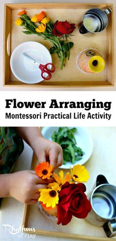 Montessori practical life activities are designed to prepare children to become fully functioning members of society. Each step of this flower arranging practical life activity for kids (picking flowers, pouring water, cutting flowers, arranging flowers) is a practical life skill that paves the way to independence and the development of logical thought. Kids Activities | Learning Activity for Kids | Practical Life Skills