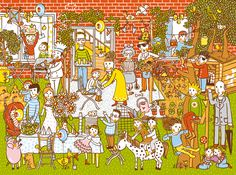 """Wimmelbuch"" family garden party, Judith Drews"