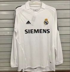 c55b552418f Real Madrid 2006 Home Long Sleeve Retro Men Soccer Jersey Personalized Name  and Number