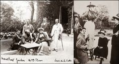 A gauche: Marcel Proust en compagnie de Mme Straus et d'un groupe d'amis (en 1893). A droite: Proust, peu sportif, transforme une raquette de tennis en guitare, sur laquelle il joue pour Jeanne Pouquet