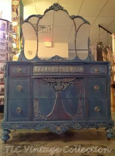DIY:  Aubusson Blue over Primer Red with Details in Gold - all of the colors of paint and wax + steps taken to get this awesome finish are listed on this post -  TLC Vintage Collection