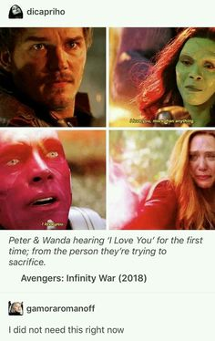 Peter & Wanda hearing I Love You for the first time; from the person theyre trying to sacrifice. Avengers: Infinity War right - iFunny :) - Funny Marvel Memes, Marvel Jokes, Dc Memes, Avengers Memes, Funny Comics, Avengers Imagines, Marvel Comics, Marvel Heroes, Marvel Avengers