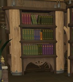 Glade Bookshelf: A natural wooden bookshelf designed in the glade fashion. Comes complete with a selection of spiritual works to help the reader achieve inner harmony. | Level: 44 Carpenter