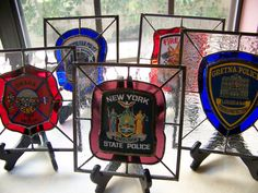 Custom Made Stained Glass Police and Fire Patch Panels. $100.00, via Etsy.