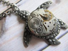 Steampunk Necklace Moving Watch Parts by LuckySteamPunk on Etsy, $23.00