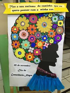 Painel Consciência Negra - Flores Womens Month, African Masks, Black History, Iris, Projects To Try, My Arts, Lettering, Activities, Painting