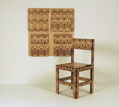 Wallpaper Chair - laser marquetry - folding chair - christy oates