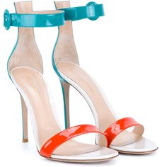 Gianvito Rossi Patent Portofino Sandals ($790) ❤ liked on Polyvore featuring shoes, sandals, heels, ankle strap sandals, white heeled sandals, white patent leather sandals, orange sandals and ankle tie sandals
