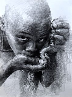 Eye-catching Drawings by the amazing Chinese artist Hoehwarang Pencil Portrait Drawing, Portrait Sketches, Pencil Art Drawings, Art Drawings Sketches, Portrait Art, Portraits, Drawing Artist, Sketch Painting, Ballpoint Pen Art