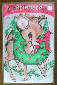 Vintage 1960 3 BEISTLE DIE CUTS Cardboard CHRISTMAS Rudolph REINDEER 11X14 NOS