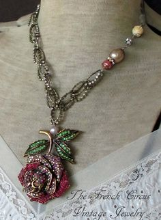 HEIRLOOM ROSE rhinestone flower necklace with by TheFrenchCircus