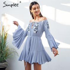 5be94c4cb6 Off shoulder embroidery jumpsuit romper women Flare sleeve ruffle short  playsuit