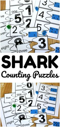 Pick up these printable shark counting puzzles to help early learners practice counting to ten with a fun summer theme! Ocean Activities, Animal Activities, Summer Activities For Kids, Lessons For Kids, Educational Activities, Counting Puzzles, Counting Activities, Kindergarten Activities, Puzzles For Kids