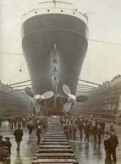 """""""The Oceanic"""" http://pinterest.com/cocopoppyhead/# The huge & ill fated sister ship of the Titanic, launched from Liverpool dock. RMS Titanic"""