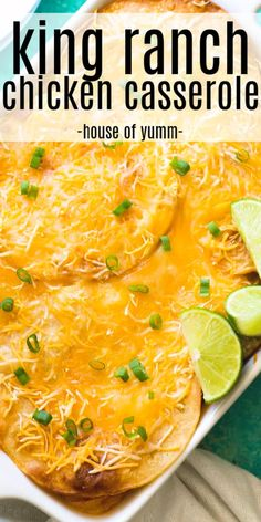 This cheesy casserole is basically a Texan lasagna! Layers of crispy corn tortillas, cheese, and a creamy chicken mixture King Ranch Chicken Casserole, Creamy Chicken Casserole, Creamy Chicken And Rice, Corn Tortilla Casserole, Corn Tortilla Recipes, Recipes With Corn Tortillas, Ranch Pasta, Chicken Tetrazzini Recipes, Chicken Recipes
