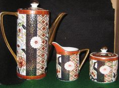 Japanese imari coffee pot with creamer and sugar by pssecondhand 60