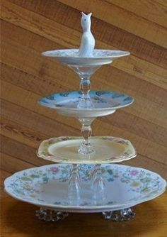 """Vintage China ~ Vintage Tiered Server ~ Orphan antique dishes crystal candlesticks cute """"pie bird"""" embellishment on top = Voila! I just love this idea! Tiered Server, Tiered Stand, Thrift Store Crafts, Thrift Store Finds, Goodwill Finds, Pie Bird, Do It Yourself Inspiration, Diy Jewelry Holder, Antique Dishes"""