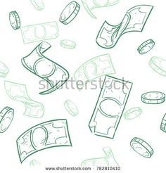 Stock Photo: Doodle cash flow. Raining money seamless pattern. Falling sketch dollars background. Money finance coins and banknotes illustration -