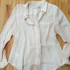Loft button down top Medium petite sizing. This was only worn once! Love the blush color. Looks pretty on. Nice and flowy but not too loose. Need a cami/tank for extra coverage. Made of rayon/cotton  LOFT Tops Button Down Shirts