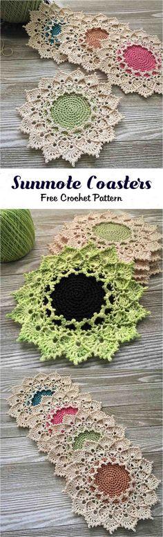 Crochet Sunmote Coasters #free #pattern