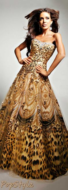 Tony Bowls Golden Gown. Most important part is the leopard at the bottom.