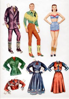 1950 Roy Rogers Dale Evans Paper Dolls 1954* For lots of free paper dolls International Paper Doll Society #ArielleGabriel #ArtrA thanks to Pinterest paper doll collectors for sharing *