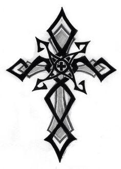 Black Tribal And Cross Tattoo Design Black Cross Tattoos, Tribal Cross Tattoos, Celtic Cross Tattoos, Cross Tattoo Designs, Cross Designs, Tattoo Drawings, Body Art Tattoos, Sleeve Tattoos, Wrist Tattoos