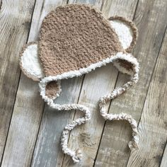 Items similar to to Crochet Brown and Cream Kids Monkey Ears Earflap Costume Hat, Fun Toddler Beanie Gift for Boys and Girls, Trendy Childrens Fashion on Etsy Handmade Baby, Handmade Shop, Etsy Handmade, Handmade Gifts, Unique Gifts, Crochet Kids Hats, Crochet Baby, Hat Crochet, Crochet Gifts