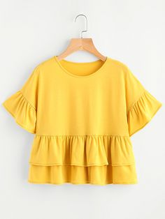 Sheinside Layered Babydoll Tee T-shirts Yellow Frill Hem Cute Ladies Summer Tops 2017 Fashion Ruffle Sleeve Casual T-shirt Fall Outfits, Summer Outfits, Casual Outfits, Cute Outfits, Blouse Styles, Blouse Designs, Hijab Fashion, Fashion Outfits, Cute Woman