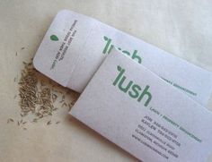 Lawn-care business used seed packets as business cards.