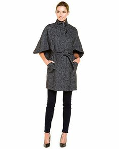 Some of you have to get in on this: Hilary Radley Black & Grey Stripe Belted Coat