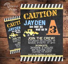 Caution Construction Birthday Invitation - Baby Shower Invitation - Digital File on Etsy, $20.00