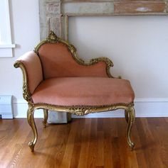 Antique French Louis XV Style Settee c.1890 Gilt Bench Chair