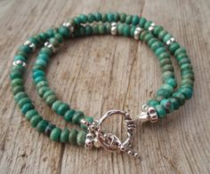 Turquoise & sterling silver double bracelet by kudzupatch on Etsy, $120.00
