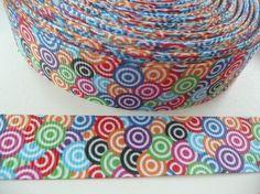 Ruban gros grain multicolore rond géométrique 22 mm p/ 50 cm
