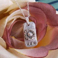 PMC Silver jewelry Mum or Mom Daisy Silver by ArtisanSilver, $45.00