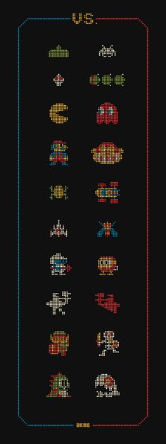 Arcade rivalries Cross stitch perhaps? Omg Posters, Video Game Posters, Video Game Art, Gaming Posters, Video Game Characters, Retro Videos, Retro Video Games, Retro Games, Classic Video Games